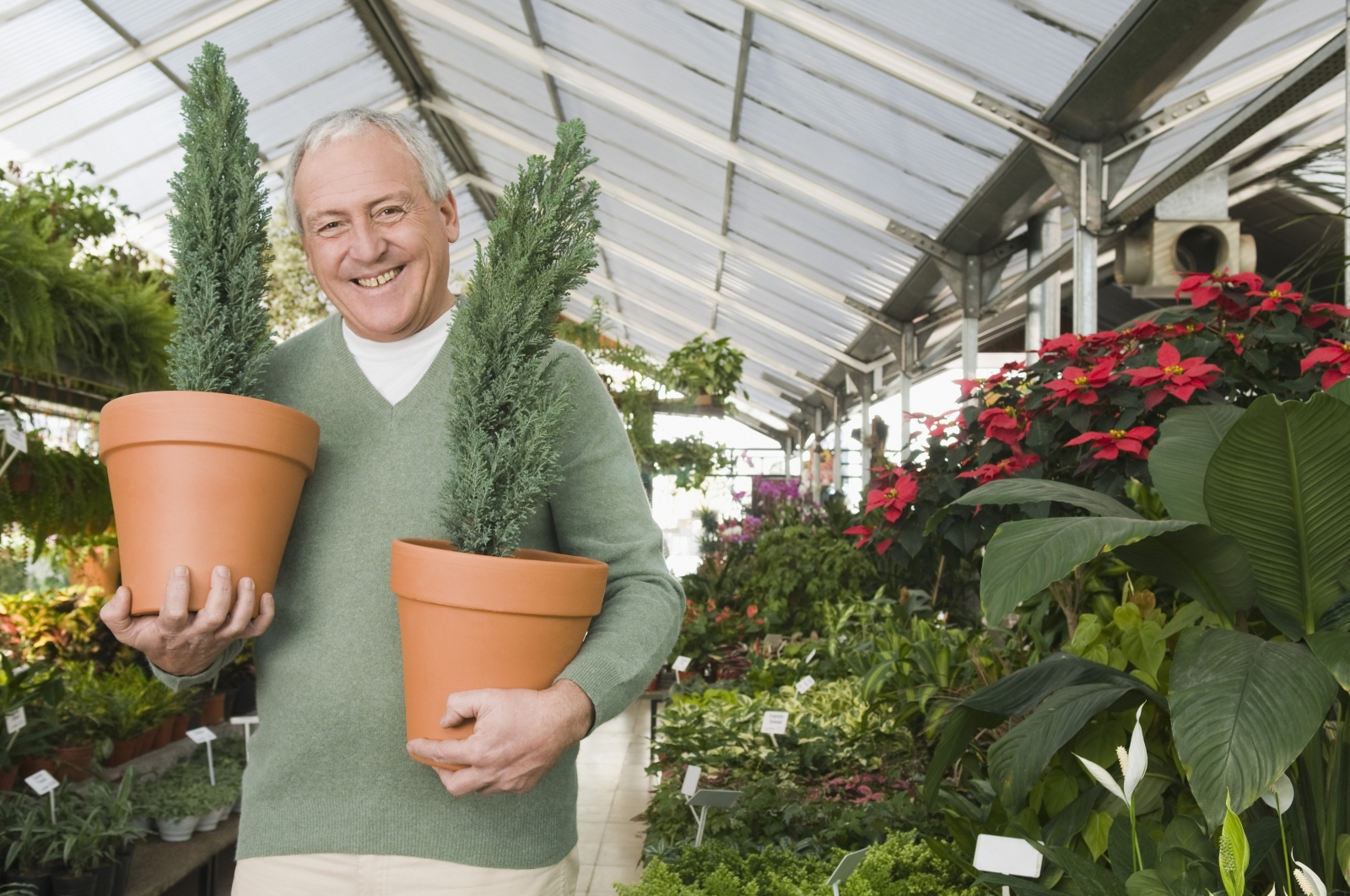 """Photo credit: 285_2690922 by PS Productions: """"Man holding potted plants in a garden center"""""""